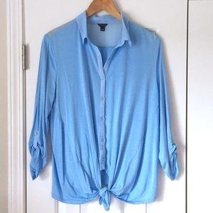 Ann Taylor blue button tie waist top